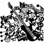 Schablone Music-is-my-life 30x30cm